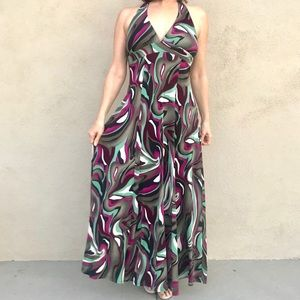 S-twelve PRINT maxi dress HALTER stretchy gown L